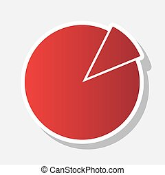 Finance graph sign. Vector. New year reddish icon with...