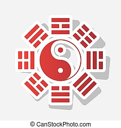 Yin and yang sign with bagua arrangement. Vector. New year...
