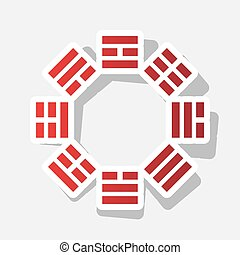 Bagua sign. Vector. New year reddish icon with outside...