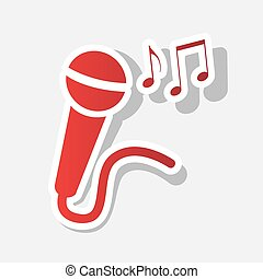 Microphone sign with music notes. Vector. New year reddish icon with outside stroke and gray shadow on light gray background.