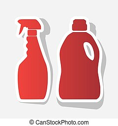 Household chemical bottles sign. Vector. New year reddish icon with outside stroke and gray shadow on light gray background.