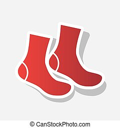Socks sign. Vector. New year reddish icon with outside...