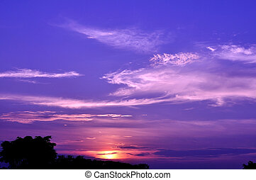 Twilight sky with flurry clouds before sunset, camera white...