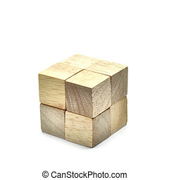 Small 8 Wooden cubes to be big one, business concept team work.