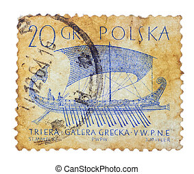 POLSKA - CIRCA 1950s: Vintage Polish postage stamp with ship...