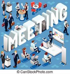Meeting Isometric People 3D Set Vector Illustration