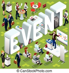 Event Isometric People 3D Set Vector Illustration