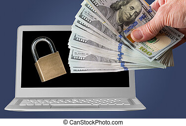 Laptop with ransomware and cash payment - Modern laptop...