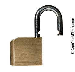 Macro shot of isolated brass padlock - Close shot of a solid...