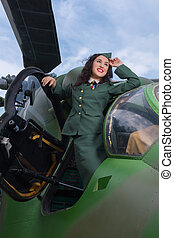 Old-timer helicopter and sexy model - Happy pin-up model in...