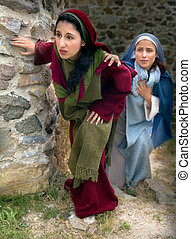 Mary and Mary Magdalene leaving the tomb - Mary and Mary...