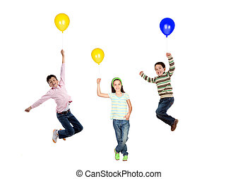 Three children flying with balloon inflated isolated on...