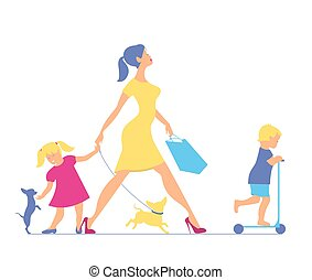 Woman with two children and dogs. Super mother doing shopping an
