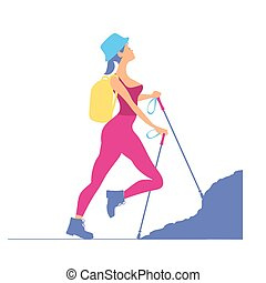 Woman traveling in the mountains.Tourist, rock-climber with a ba