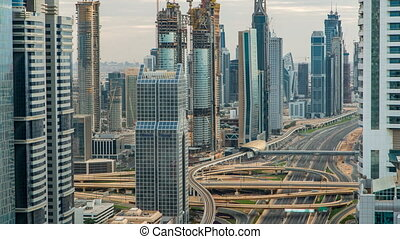 Dubai Downtown timelapse top view before sunset as shot from...