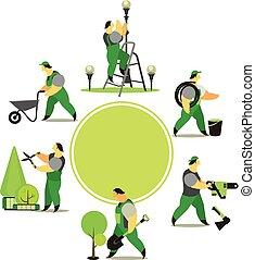 set of garden workers