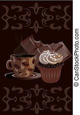 Coffee mug with chocolate and cake