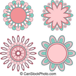 Pink and turquoise floral ornaments