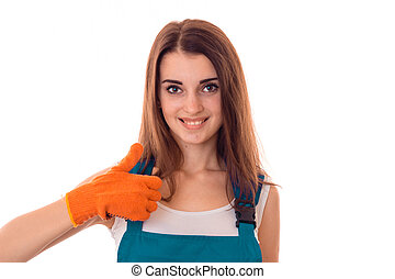 Portrait of a beautiful girl wore gloves which looks into...