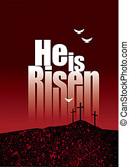 He is Risen Easter crosses and doves on horizon - Graphic...