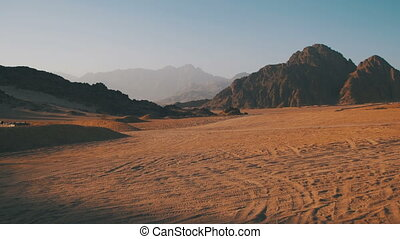 Desert in Egypt, Sand and Mountains, Panoramic View - Desert...