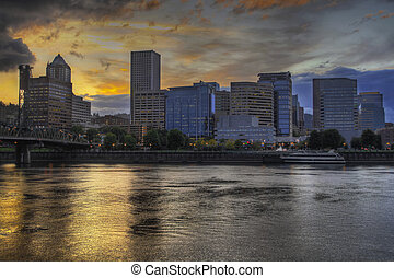 Dramatic Sunset Sky Over Portland Skyline 2 - Dramatic...