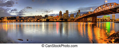Portland Downtown Skyline Night Panorama 2 - Portland Oregon...