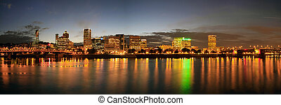 Portland Downtown Skyline Night Panorama - Portland Oregon...