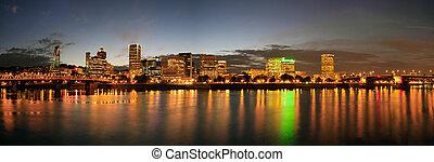 Portland Downtown Skyline Night Panorama