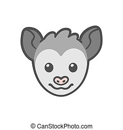 Cartoon Opossum face - Cute cartoon smiling possum head,...