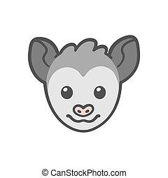 Cartoon Opossum face - Cute cartoon smiling possum head,...
