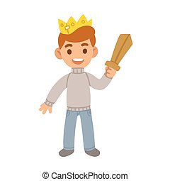 Boy with toy sword - Little boy with toy wooden sword and...