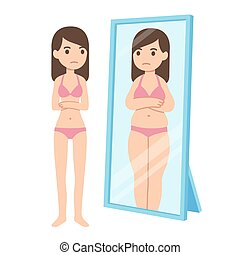 Body dysmorphia and mental health - Thin girl looking fat in...