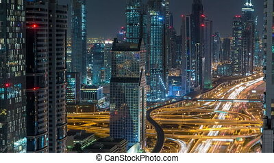 Dubai Downtown timelapse top view at night as shot from a...
