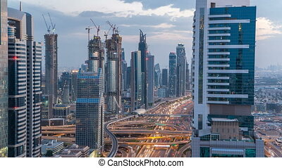Scenic Dubai downtown architecture day to night timelapse....
