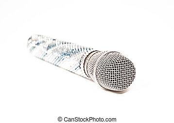 microfono, lussuoso, fondo, cristalli, decorato, voce,...