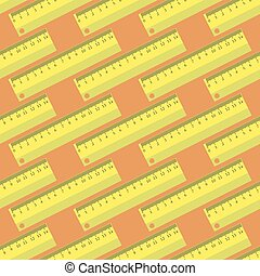 Yellow Wooden Ruler Seamless Pattern on Orange Background