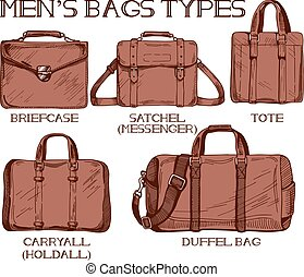Mens bags types - Vector illustration of mens bags types:...