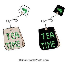 Tea time lettering on the tea bag. Can be used for print of...