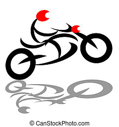 Abstract extreme biker - Extreme biker riding sport...