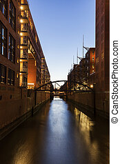 Architecutre of Speicherstadt in Hamburg. Hamburg, Germany.