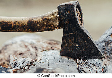 The ax stuck in a log - An axe being thrust into a large log...