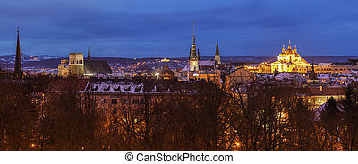 Panorama of Olomouc at night. Olomouc, Olomouc Region, Czech...