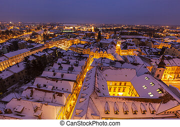 Winter panorama of Hradec Kralove