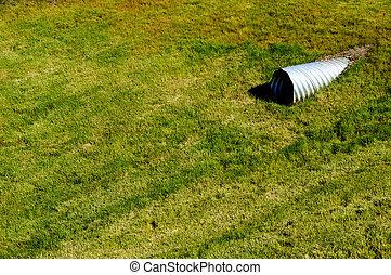 drenaggio, bacino, coperto, erba