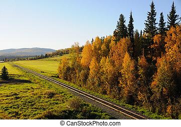 Alaska, ferrocarril, otoño