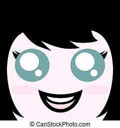kawaii green eyes - design of kawaii green eyes