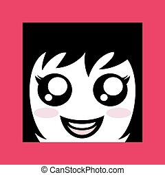 pretty girl face draw icon