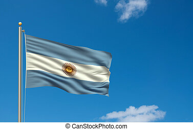 Flag of Argentina with flag pole waving in the wind on fron...