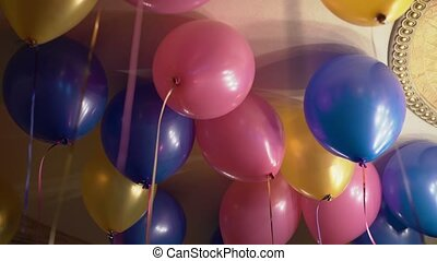 Colourful balloons indoors at the party